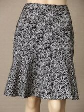 DAVID LAWRENCE Size 10 Black & White Geometric Straight SKIRT Flared Hem