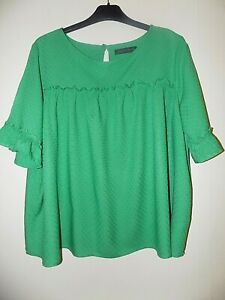 M&S Green Loose Fit Smock Top with Frill Sleeves UK Size 14
