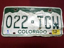 single Colorado license plate 022-TCW 2010