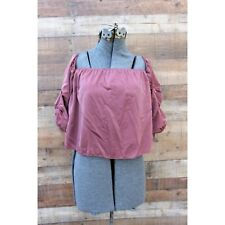 NEW Lavender Field Mauve Pink Cropped Off the Shoulder Top Large