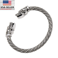 Norse Viking Wolf Head Silver Open Bracelet Gothic Bangle Jewellery Adjustable