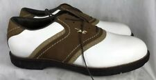 Reebok Mens 10.5D White/Brown Leather Casual Wing Tip Shoes Golf