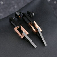 Rectangle Triangle Black/Rose Gold GP Surgical Stainless Steel Drop Earrings