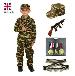 Child Boys KIDS ARMY SOLDIER COSTUME Fancy Dress Party Uniform Military Outfit