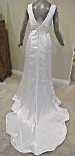 White Sleeveless Silky Satin Straight Bridal Gown Wedding Dress Size 8 10 cLOSeT