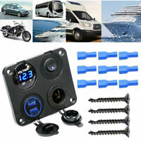 4-in-1 Car Boat Voltmeter Cigarete Lighter Socket Dual USB Charger Switch Panel