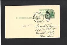 DOUGLAS, ARIZONA 1953, GOVERNMENT POSTAL CARD ,REVALUED, TO BOULDER CITY,NEVADA.