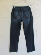 WOMEN'S NYDJ NOT YOUR DAUGHTER JEANS SIZE 4 P STRAIGHT IN BLUE DENIM PRE OWNED