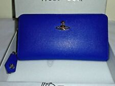 37c61fe5bf Vivienne Westwood authentic blue saffiano leather zip around wallet NEW