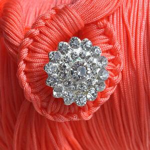 Leuchtende Strass-Silber-Blume Schiebeperle Slider Diacharme Loch: 10 x 4 mm