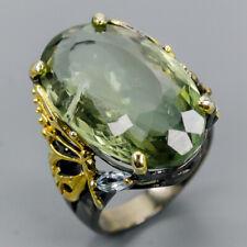 Vintage SET35ct Natural Green Amethyst 925 Sterling Silver Ring Size 7/R121552
