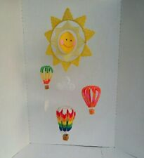 Beautiful Handmade Sunshine and Hot Air Balloons Mobile. Handmade Art. LOOK