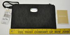 Michael Kors Jet Set Large Zip Clutch Black Signature Wristlet Bag iPhone 6