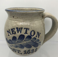 Newton MA Settlement Est. 1688 Pottery Mug Signed Artisan Made Blue Coffee Mug.!