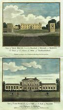 """Walpoole's - """"SION HOUSE & CANE WOOD IN MIDDLESEX"""" - Hand-Col'd Engraving - 1784"""