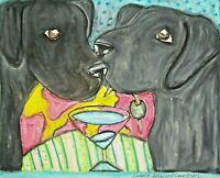 ACEO Labrador Retriever Art Print 2.5 x 3.5 | Black Lab Gifts, Wall Art Martinis