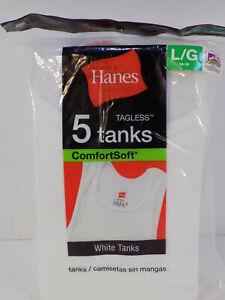 NEW 5 Boy's Hanes White Cotton Tank Top / A-Shirts Large 14-16