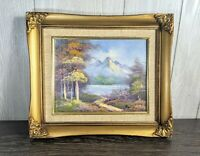 Vintage Gold Wood Ornate Picture Frame with original Mountain scene oil Painting