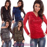Maglia donna maglietta paillettes scollo morbido camicia schiena velata CJ-2388