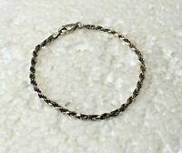 "Vintage Petite Solid Sterling Silver Twist Rope 7 in. "" Bracelet Italy 925"