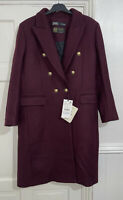 ZARA AW20-21 MAROON DOUBLE-BREASTED WOOL BLEND COAT WITH METAL BUTTONS SIZE L