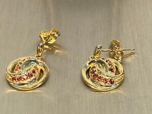 Ohrringe Ohrstecker Knotendesign Granat  925 Silber vergoldet