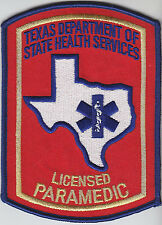 Texas LICENSED PARAMEDIC full color GOLD LETTERING patch TX