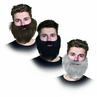 Black Bushy Pirate Thick Beard Silver Mens Fancy Dress Costume Accessory