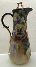Vintage Pitcher Water Chocolate Coffee Hand Painted Tall Large Pansy Rare