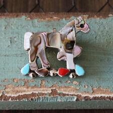 NATIVE AMERICAN ZUNI INLAY HORSE PIN BY CARMEN LEEKITY NATIVE AMERICAN JEWELRY