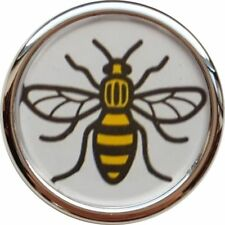 MANCHESTER WORKER BEE CHROME SILVER COLOUR EDGE BUTTON BADGE