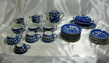 1940-50's Porcelain Minature Blue Willow 29pc Child's Tea Set -  Made in Japan