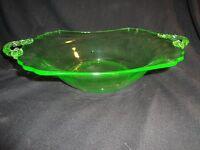 (1036) VINTAGE GREEN DEPRESSION GLASS PLATE BOWL PLATTER w/ HANDLES