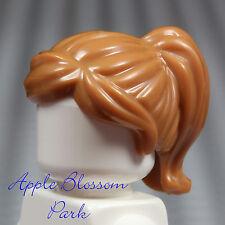 NEW Lego Female Minifig LIGHT BROWN HAIR - Med Flesh Girl Head Gear w/Ponytail
