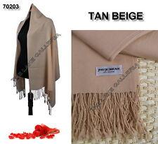 Tan Beige Classic Soft 100% Real Pashmina Cashmere Wool Shawl Wrap Scarf Plain