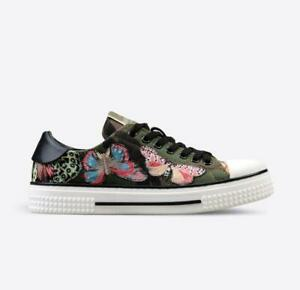 VALENTINO Camu Butterfly Noir Army Green Low Top Sneaker 39 $1,195