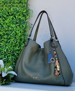 Coach 36464 Edie ARMY OLIVE GREEN Pebble leather Shoulder Bag purse hobo handbag