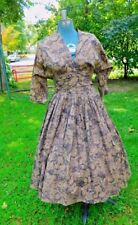Vintage 1950's Low Cut Layered Waist Full Skirt Dress Size Small