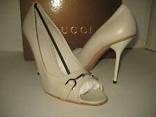 New GUCCI Women US 10.5 EU 41 Gray Leather Pump Logo Peep Toes High Heels Shoes