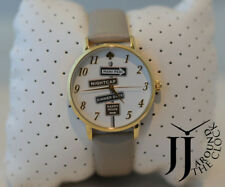New Kate Spade New York Metro Clocktower Gray Leather women's Watch KSW1126