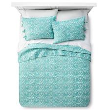 Mudhut Maroq Quilt and Pillow Sham Set - Teal, King Size Bedding Set New
