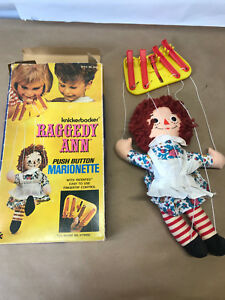 Vtg Knickerbocker Raggedy Ann Push Button Marionette w/ Box