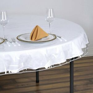 100% Waterproof Vinyl Tablecloth Protector: White Stitched Edge