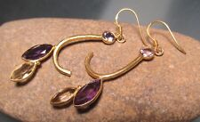 925 silver & gold plate cut amethyst & citrine drop design earrings. Gift Bag.