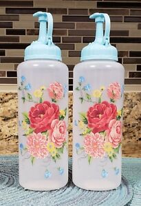 PIONEER WOMAN SWEET ROSE CONDIMENT DISPENSERS SET OF 2 NEW
