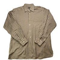 Ermenegildo Zegna Mens Brown Check Long Sleeve Cotton Shirt Medium