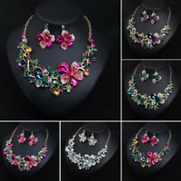 Crystal Necklace Earring Jewelry Set Women Bridal Party Formal Wedding Gifts New