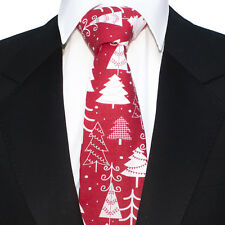 Mens Christmas Red White Trees Tie CH26
