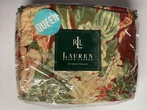 NEW Ralph Lauren QUEEN Bedskirt DESERT PLAINS Floral Burgundy Ruffle