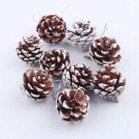 Christmas Pine Sprinkled Snow Cones Bauble Xmas Tree Hang On Hangings 9pcs Gift